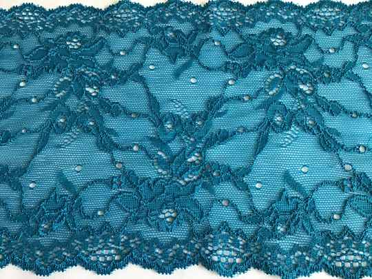 Peacock blue stretch lace
