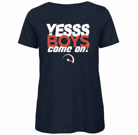 """Dames T-Shirt """"Yesss Boys Come On!""""   Navy Blue"""
