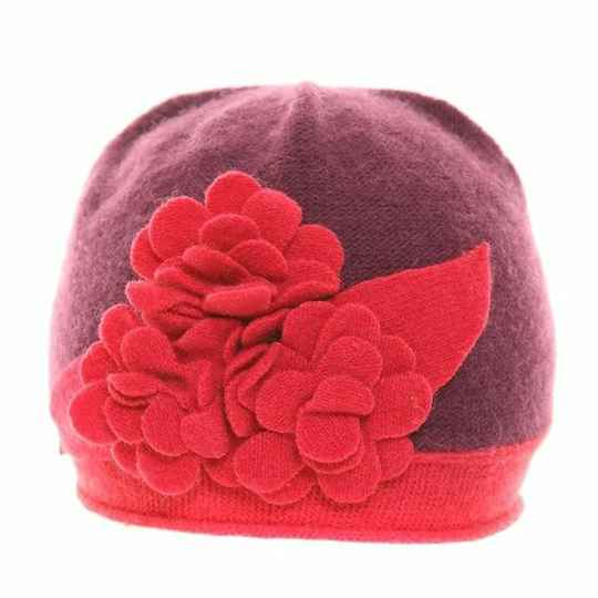 Dames muts paars-rood