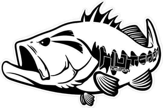 Sticker Black Bass 30x20cm