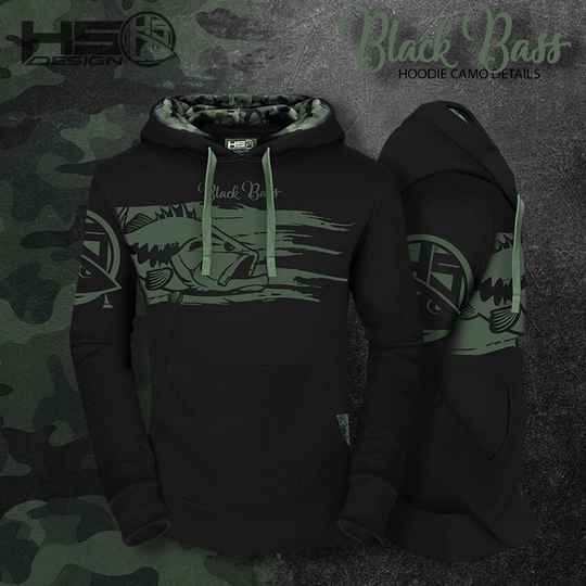 Hoodie Black Bass with camo detail