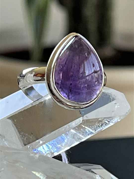 Amethyst Ring Cabochon druppel, maat 19