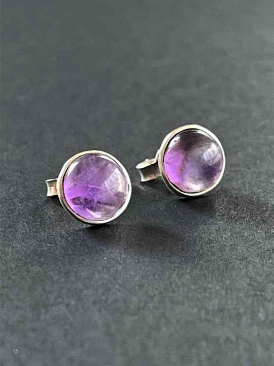Amethyst Oorknopjes Cabochon rond