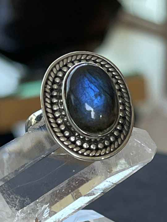 Labradoriet Ring Cabochon ovaal, maat 18