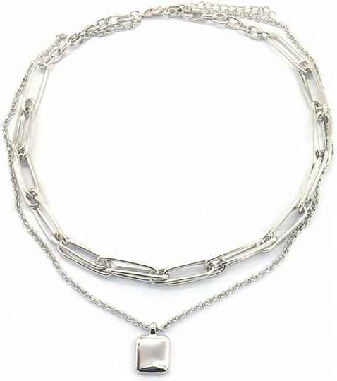 Layered Chain Necklace zilver