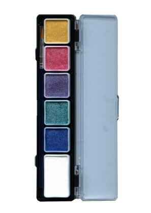 PXP Professional Colours palet pearl colours 5 x 3 and 1 x 6 gram with  brush 43704