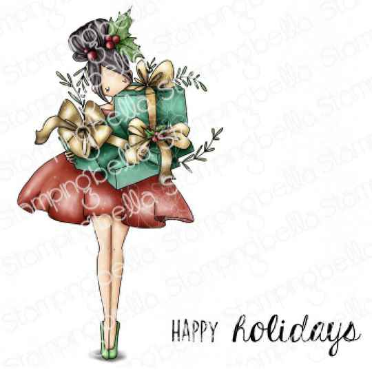 Stamping Bella Stempel - Curvy Girl With Holiday Gifts (eb1049)