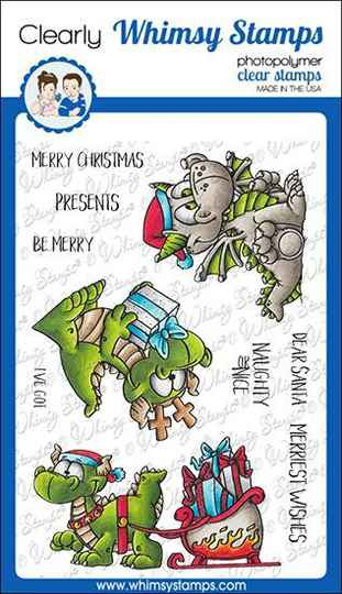 Whimsy Stamps Stempel - Dragon Christmas Wishes (DP1039a)
