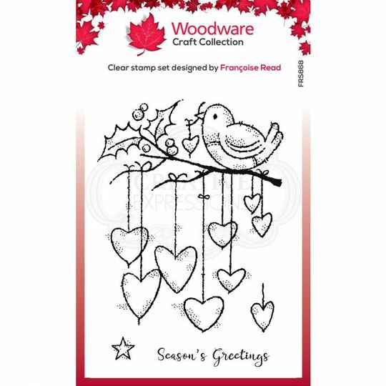 Woodware Stempel - Hanging Hearts (FRS868)