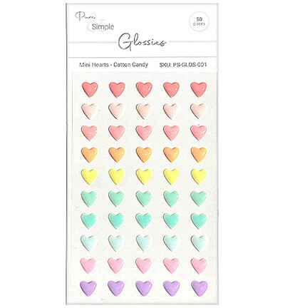 Pure & Simple Mini Hearts, Cotton Candy (PS-GLOS-001)