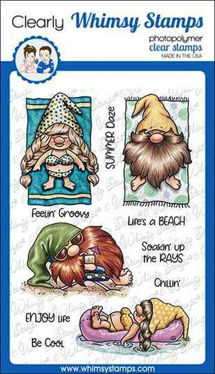 Whimsy Stamps Stempel - Gnomes at the Beach (C1113a)