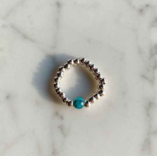Ring silver blue