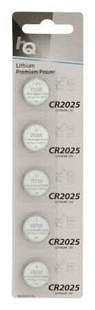 HQ lithium button cell CR2025 battery 3 Volt, 5-blister