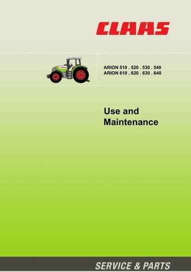 Claas Arion 510 520 530 540 610 620 630 640 Tractor Opps and Maintenance Manual