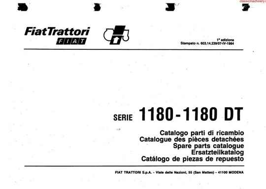 Fiat 1180 and 1180 DT Parts Manual