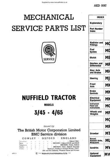Nuffield Tractor 3/45 6/65 Parts Manual