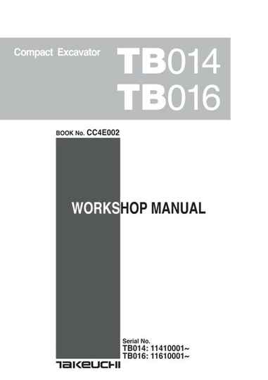 Takeuchi TB014 Tracked Excavator Workshop and Parts Manuals Set of 3 Manuals