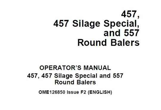 B1 John Deere 457, 457 Silage Special, and 557 Round Balers Operator's Manual  SD