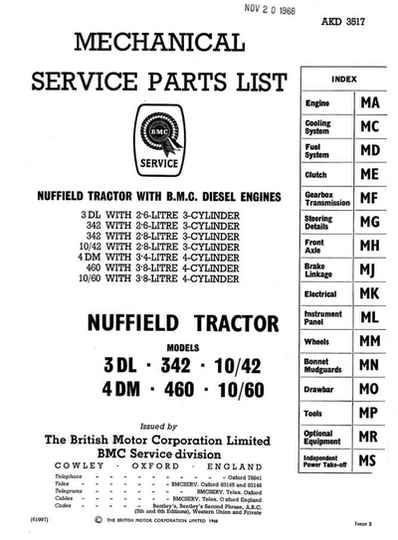 Nuffield 3DL 342 10/42 4DM 460 10/60 Tractor Parts Manual