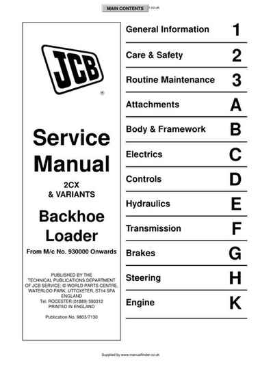 JCB 2CX and variants from No 930000 Workshop Manual