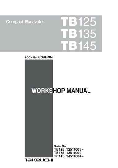 Takeuchi TB125 Tracked Excavator Workshop and Parts Manuals Set of 3 Manuals