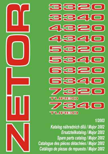 Zetor 3320 to 7340 Parts Manual full list of models see scan No1