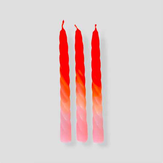 Dip Dye Twisted Candles Shades of Peach