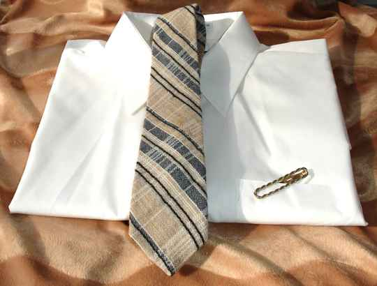 Jone New york Striped Wool Vintage Tie In Shades Of Tan And Black