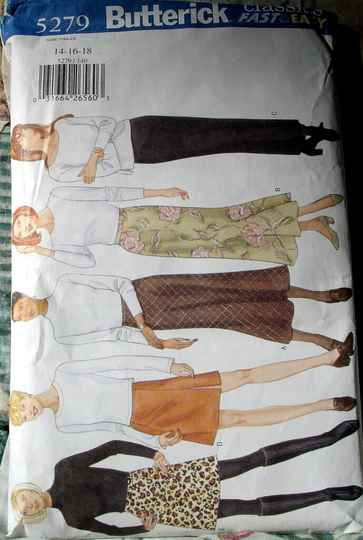 Butterick 5279 Misses A Line Bias Or Tapered Skirts In Two Lengths Sizes 14-16-18