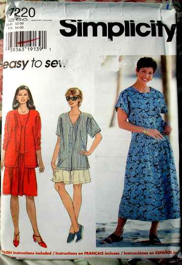 Simplicity 7220 Women's Top Dress And Shorts Size GG (26W to 32W)