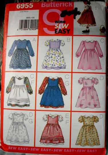 Butterick 6955 Toddlers Flared Dress and Pinafore Sizes 1,2,3,4