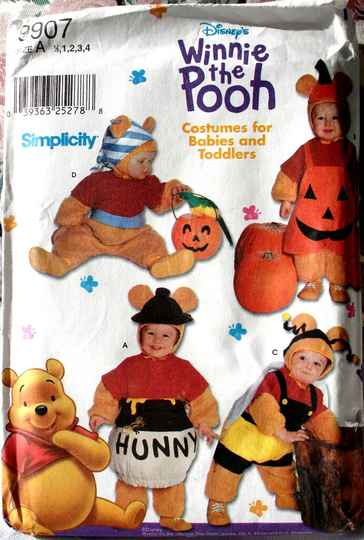 Simplicity 9907 Winnie The Pooh Costumes For Babies And Toddlers Size A