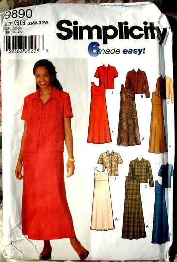 Simplicity 9890 Women's Jacket Pullover A-line Dress Or Jumper Pattern Sizes 26W to 32W