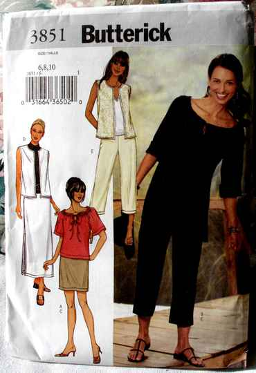 Butterick 3851 Misses Loose Fitting Vest Top Tunic Skirt And Pants Size6-8-10