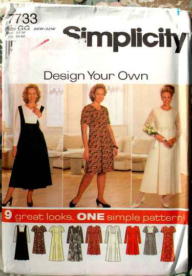 Simplicity 7733 Women's Princess Seamed Fit And Flare Dress Size GG (26W to32W)