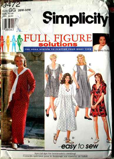 Simplicity 9472 Women's Jumpsuit Dress And Jumper Pattern By Mary Duffy Size GG (26w-32W)
