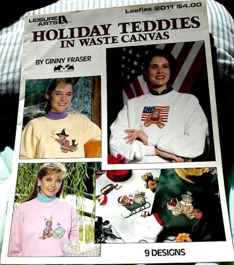 Holiday Teddies In Waste Canvas by Ginny Fraser Leisure Arts Leaflet 2011