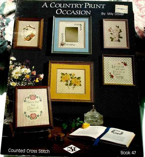 A Country Print Occasion Counted Cross Stitch By Mily Dover Book #47
