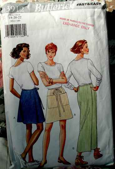 Butterick 3912 Misses Straight Or A Line Wrap Skirt Sizes (18-20-22)