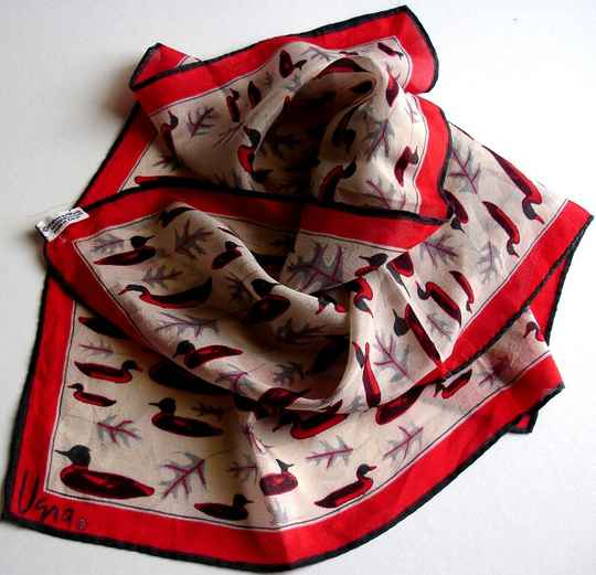 Vera Neumann Verasheer Ducks And Leaves Scarf In Red Black And Gray