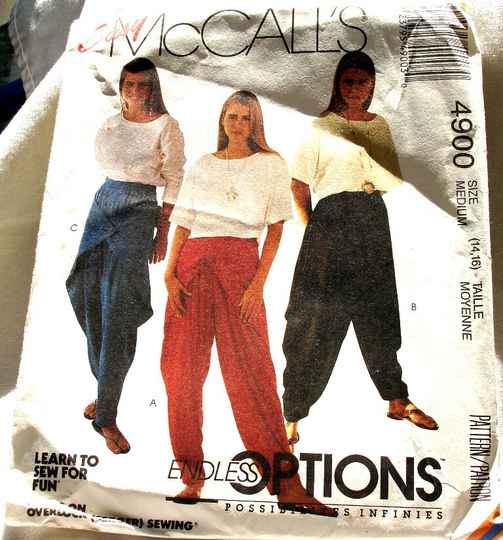 McCall's 4900 Misses Pullover Top And Side Draped Pants Size Medium (14-16) Pattern