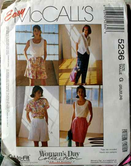 McCall's 5236 Slightly Pegged Skirt Tapered Leg Pants And Shorts Size G(20-22-24)