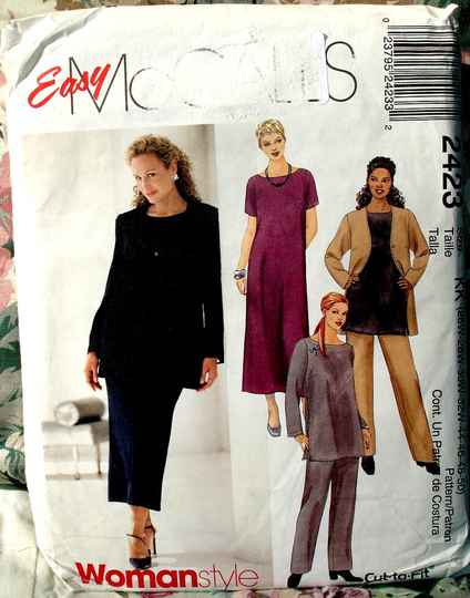 McCall's 2423 Women's Unlined Jacket Dress Top And Pull On Pants Size KK(26W-32W)