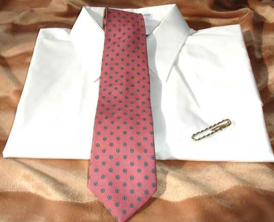 Hunter Bay Vintage Men's Tie In Pink With Small Blue Flower Motif