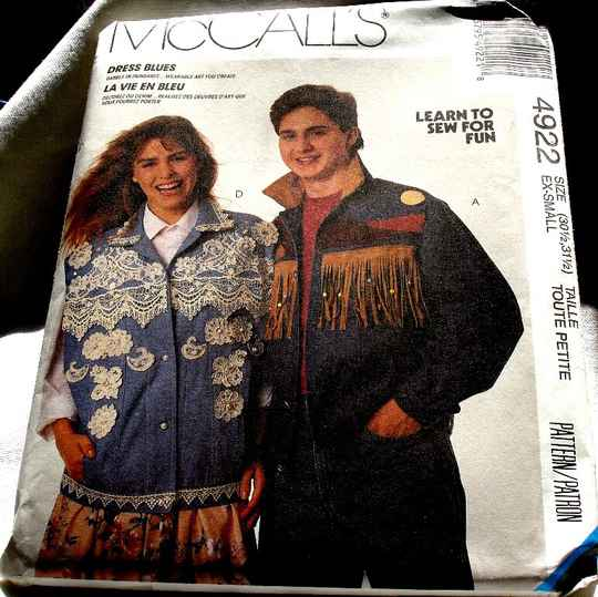 McCall's 4922 Misses Men's Teen Boys Jacket Or Vest Pattern Size Ex-Small