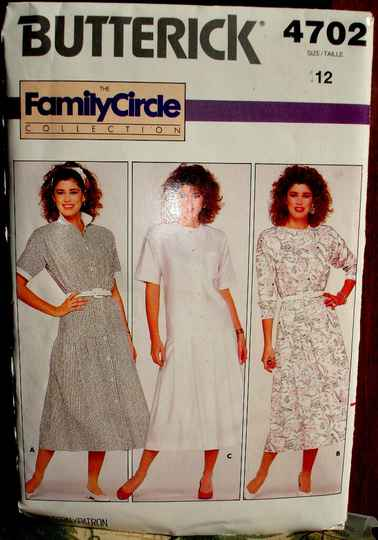 Butterick 4702 Misses Loose Fitting Dropped Waist Bodice Dress Size 12