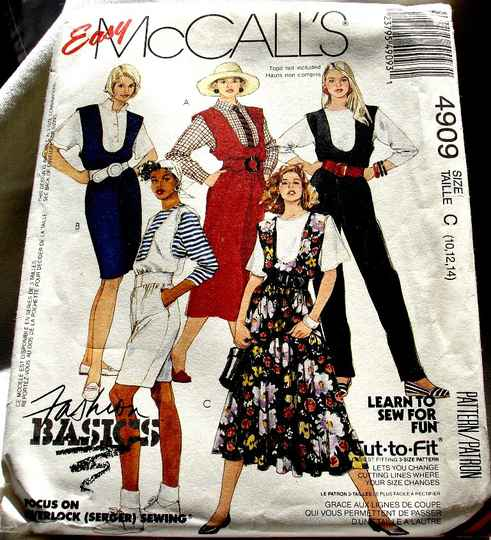 McCall's 4909 Misses U Neckline Jumpers Jumpsuit Or Rompers Size C (10-12-14) Pattern