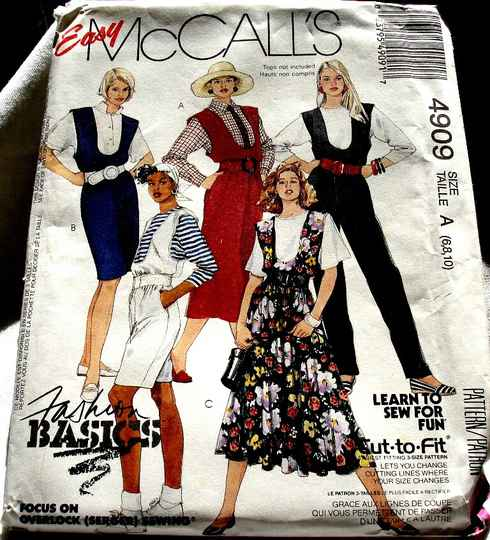 McCall's 4909 Misses U Neckline Jumpers Jumpsuit Or Rompers Size A (6-8-10) Pattern