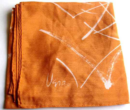 Vera Scarf Square Rust Colored With White Check Marks Verasheer