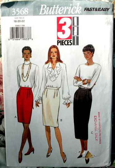 Butterick 3568 Misses Skirt With Front Pleats In Three Lengths Sizes 18-20-22